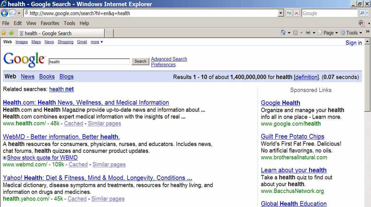 Search on 'Health'